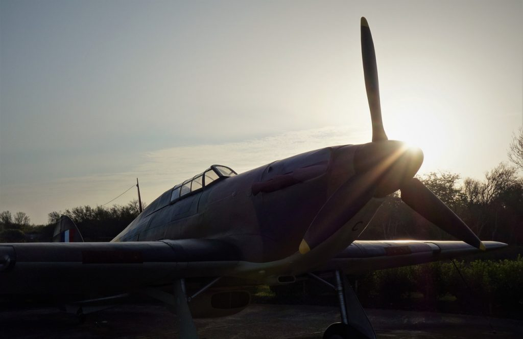 Coastal Road Trip, Capel-le-Ferne, Battle of Britain Memorial, Hawker Hurricane Mk 1 Replica US-X, Sunset, Folkestone