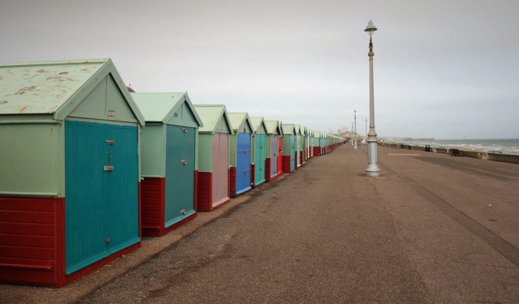 Coastal Road Trip, Hove, Beach Huts, Promenade, Beach, Sahara sand, Iberian wildfire smoke dust, Storm Ophelia