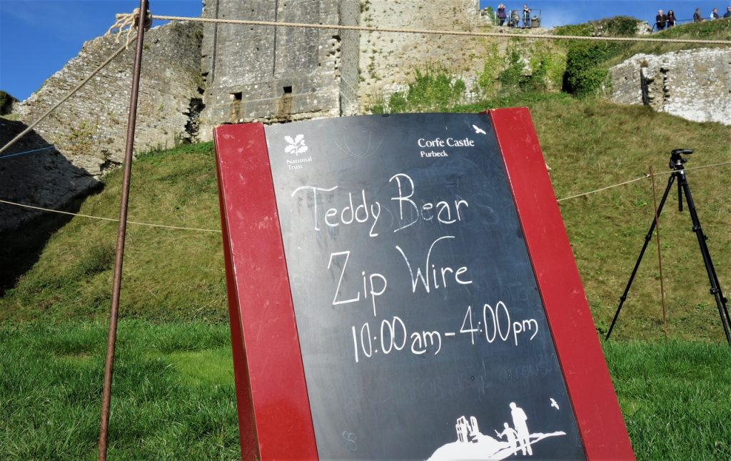 Coastal Road Trip, Corfe Castle, Teddy Bear Zip Wire, Sign, National Trust