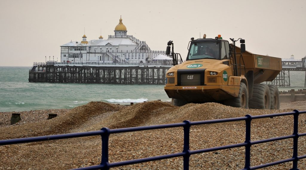 Coastal Road Trip, Eastbourne, Eastbourne Pier, Beach, Truck, CAT, caterpillar