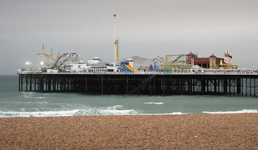 Coastal Road Trip, Brighton, Pier, Beach, Sahara sand, Iberian wildfire smoke dust, Storm Ophelia