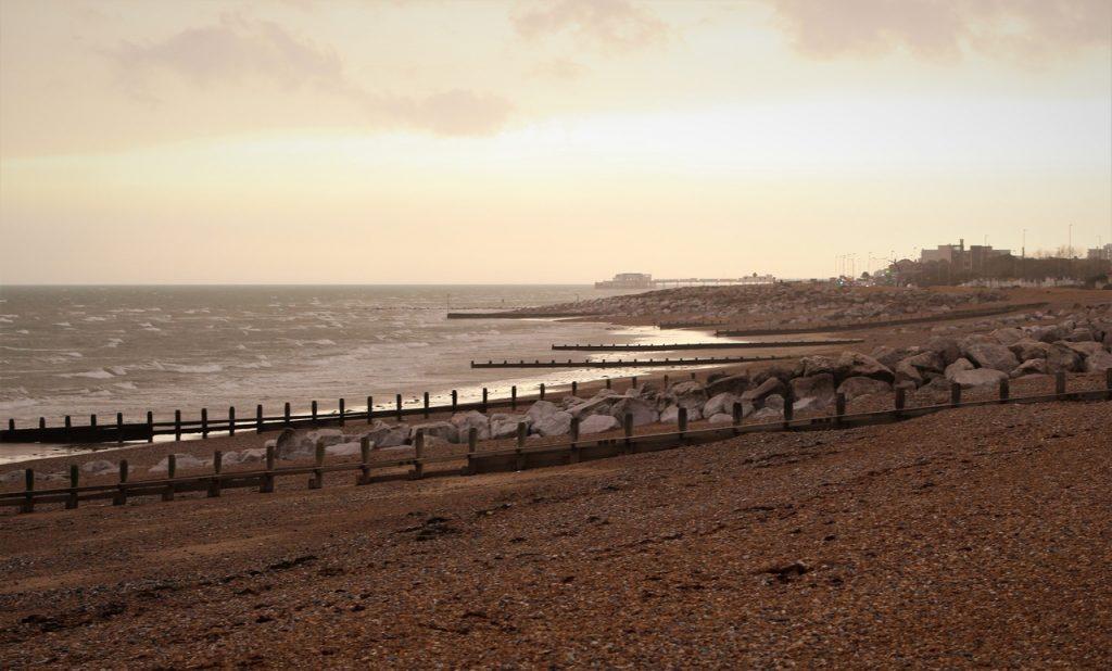 Coastal Road Trip, Lancing, Beach, Worthing Pier, Sahara sand, Iberian wildfire smoke dust, Storm Ophelia