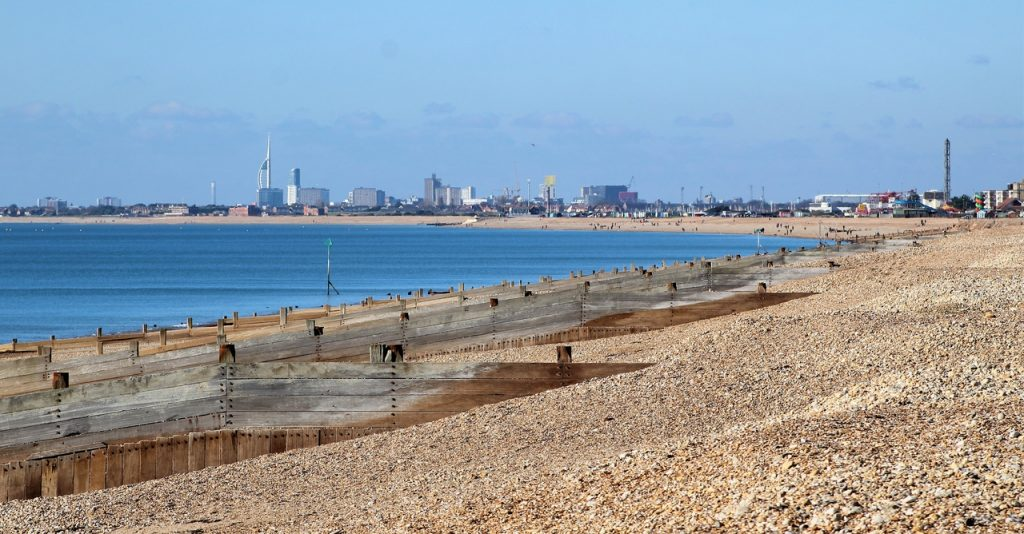 Coastal Road Trip, Hayling Island, Beach, Seafront, View of Portsmouth