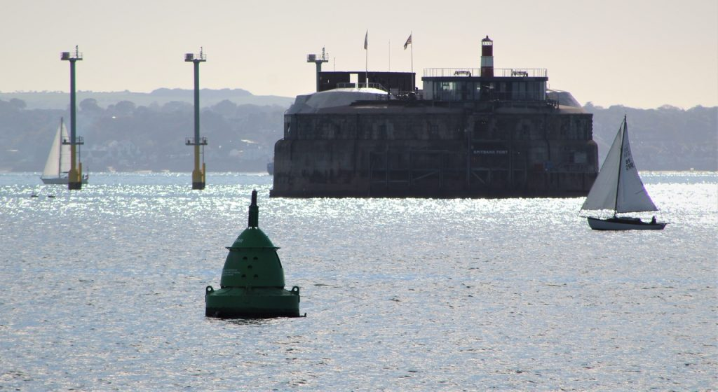 Coastal Road Trip, Portsmouth, Harbour Entrance, Solent, Spitbank Fort, Yacht