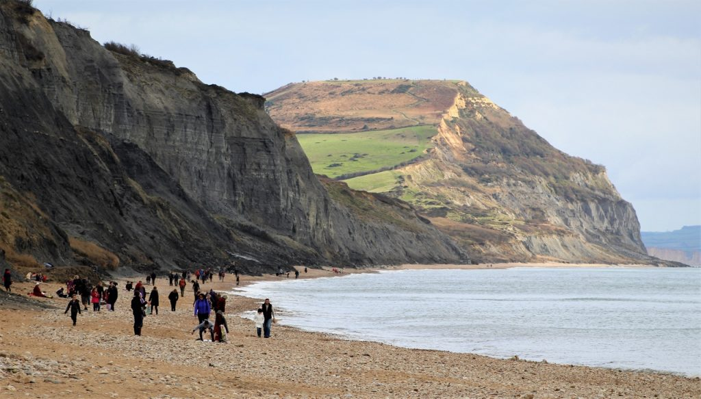 Coastal Road Trip, Charmouth, Beach, Cliff, Walkers, Golden Cap