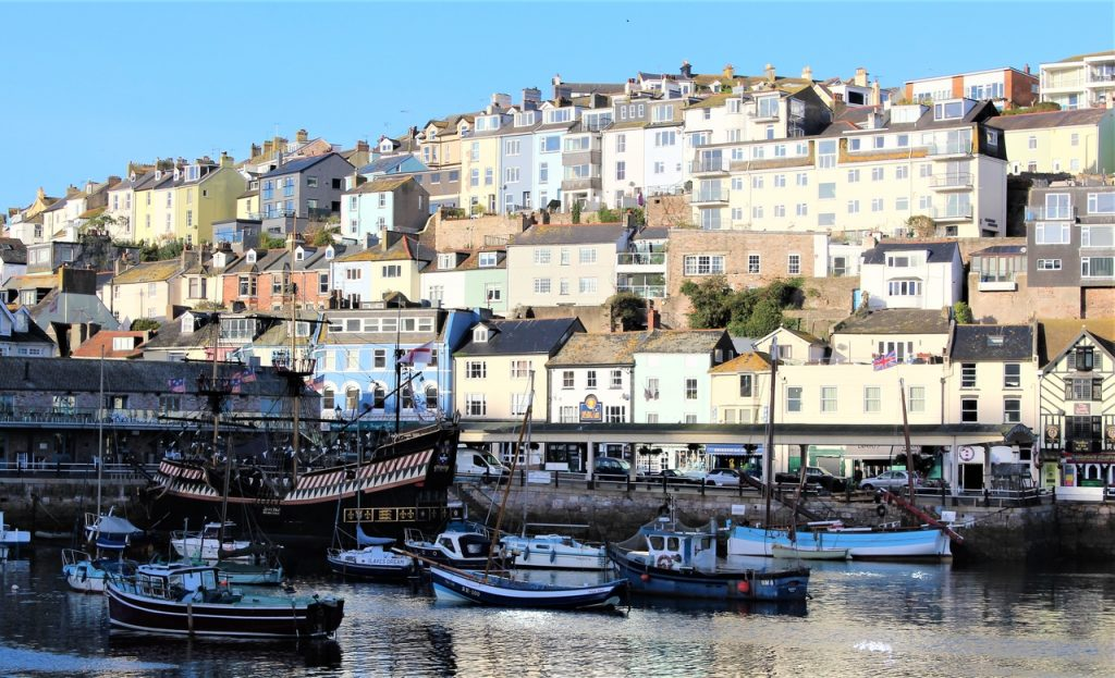 Coastal Road Trip, Brixham, Harbour, Golden Hind Museum Ship, Houses, Fishing Boats