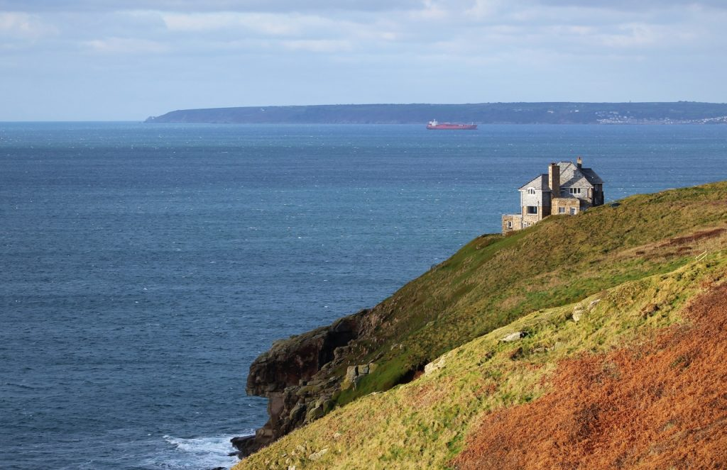 Coastal Road Trip, Rinsey, Cove, Head, Mount's Bay, View to Mousehole, House on cliffs