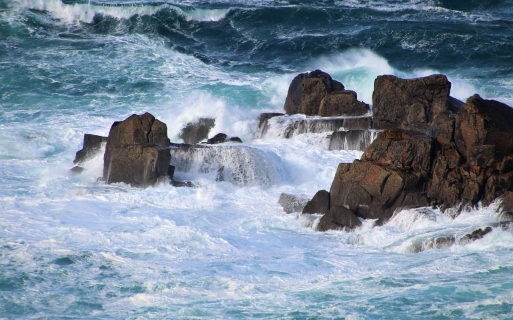 Coastal Road Trip, Lands End, Waves crashing on rocks