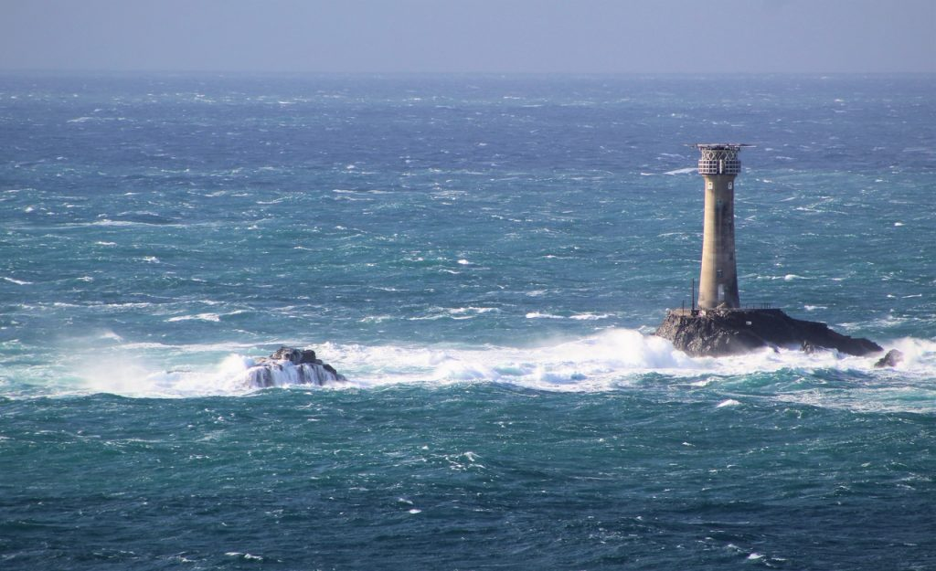 Coastal Road Trip, Lands End, Longships Lighthouse, Waves crashing on rocks, Carn Bras