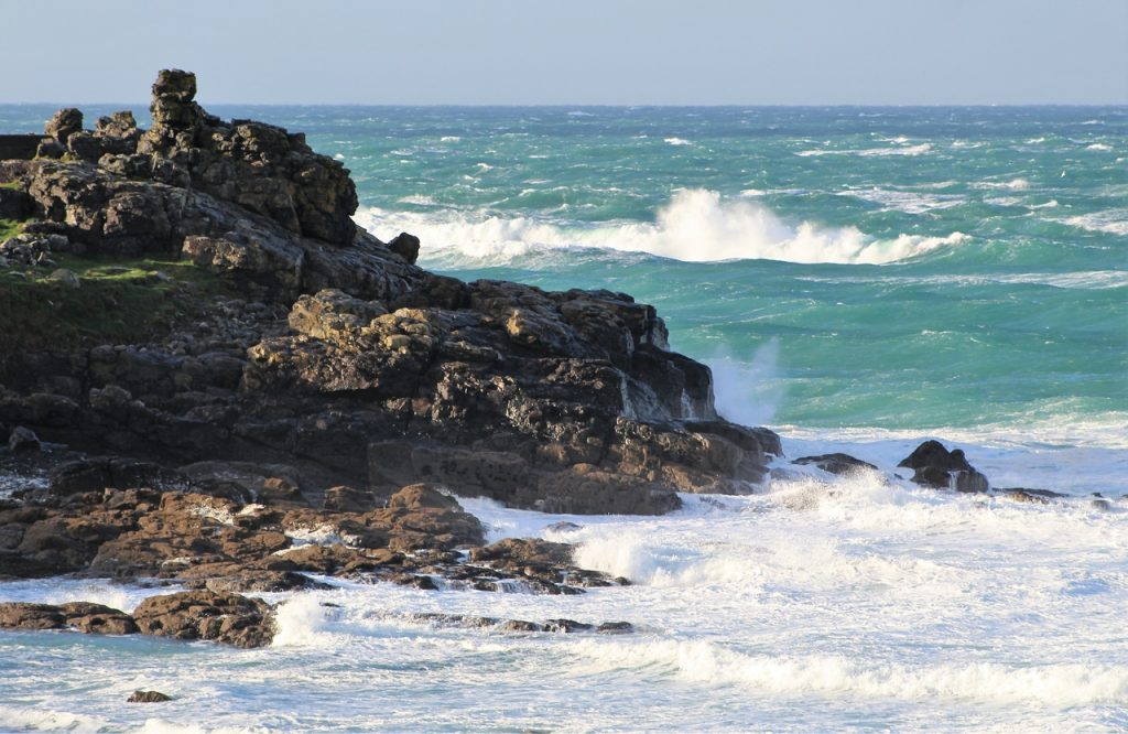 Coastal Road Trip, St Ives, Porthmeor Beach, Rocks, Waves Crashing, Southwest Coastal Path