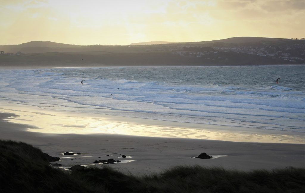 Coastal Road Trip, Gwithian Beach, St Ives Bay, Sunset, Kite-surfers