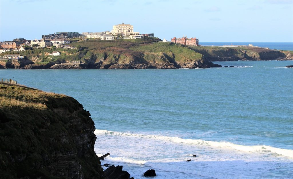 Coastal Road Trip, Newquay, Bay, Lusty Glaze Beach, Views back to Towan Headland