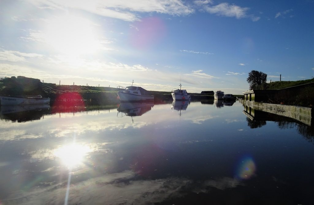 Coastal Road Trip, Braunton Burrows, Velator Quay, River Caen, Reflection, Boats, Sunbeam