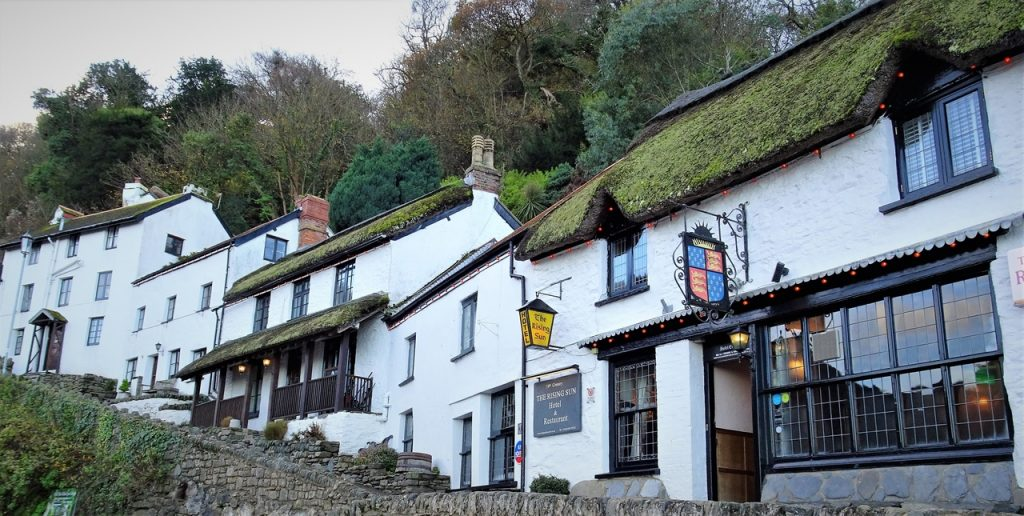 Coastal Road Trip, Lynmouth, Pub, Cottages, The Rising Sun, Inn, Thatched Roof
