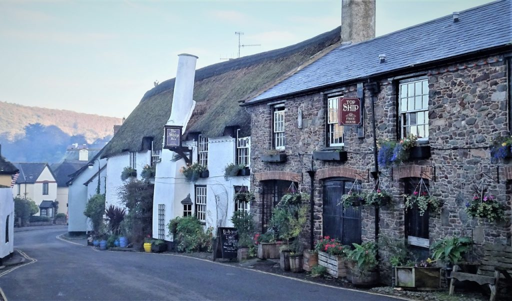 Coastal Road Trip, Porlock, The Ship Inn, Hish Street. Thatched Roof