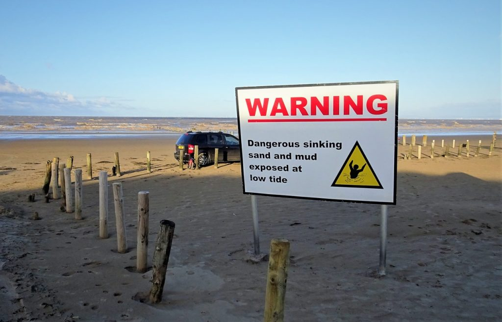 Coastal Road Trip, Berrow, Beach, Warning, Sinking Sand