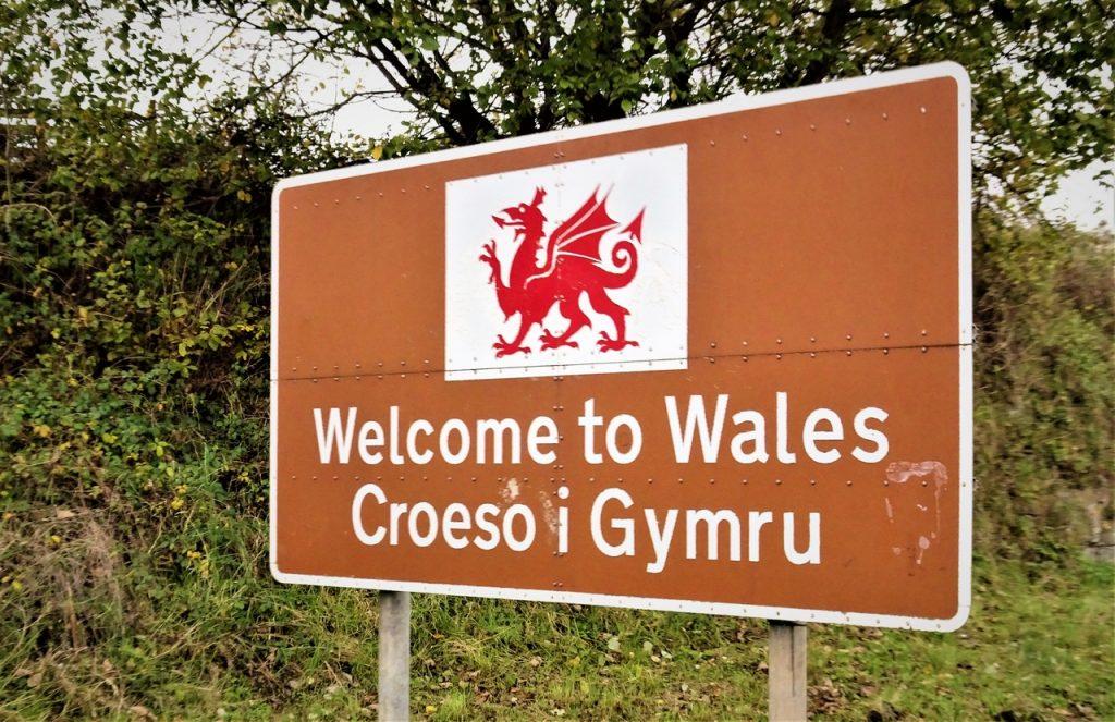 Coastal Road Trip, Welcome to Wales Sign, Croeso i Gymru