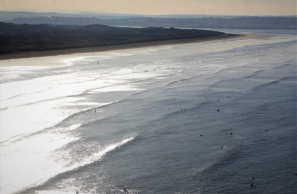 Coastal Road Trip, Saunton Sands, Surfers, Beach, Waves, Aerial View, Croyd Road