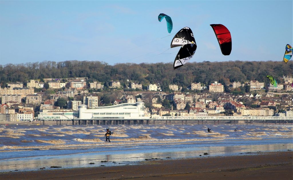 Coastal Road Trip, Royal Sands and Uphill, Beach, Kite Surfers, Weston-Super-Mare