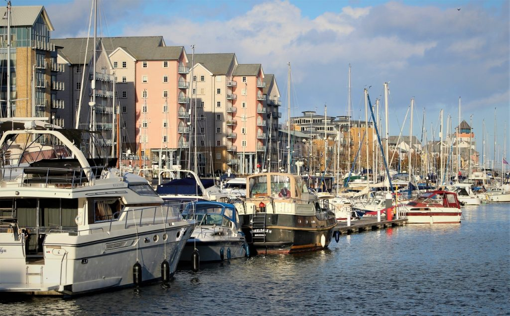 Coastal Road Trip, Portishead Quay Marina, Yachts, Apartments